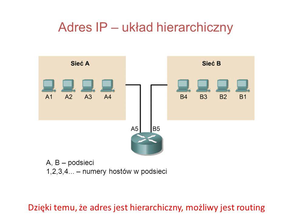 Adres IP – układ hierarchiczny A, B – podsieci 1,2,3,4... – numery hostów w podsieci Dzięki temu, że adres jest hierarchiczny, możliwy jest routing