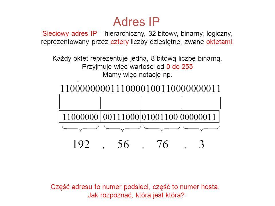 Adres IP Sieciowy adres IP – hierarchiczny, 32 bitowy, binarny, logiczny, reprezentowany przez cztery liczby dziesiętne, zwane oktetami. Każdy oktet r