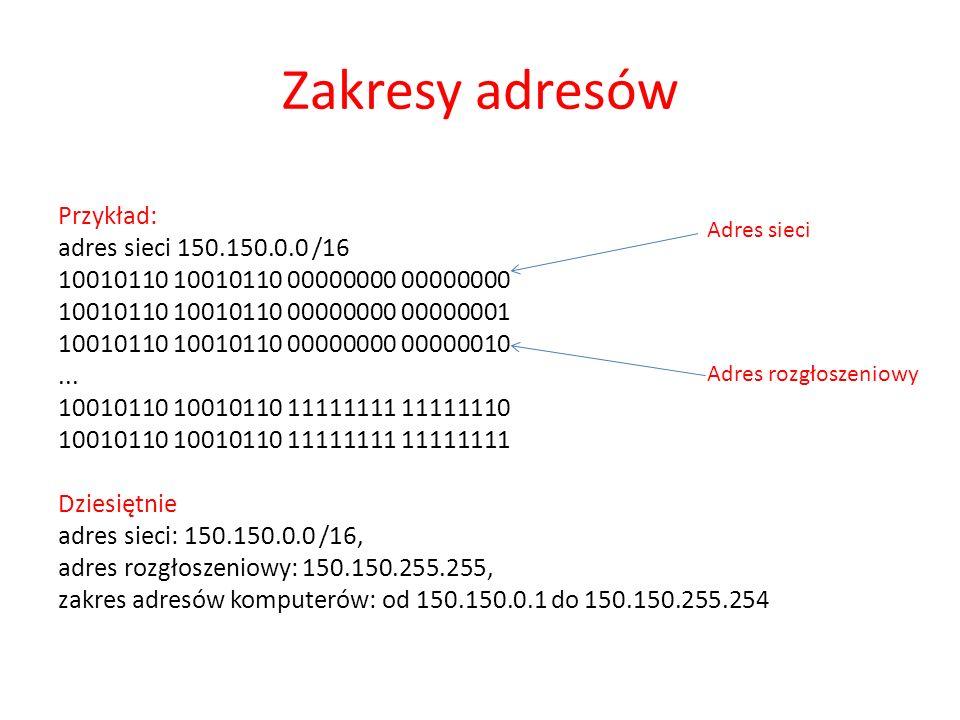 Zakresy adresów Przykład: adres sieci 150.150.0.0 /16 10010110 10010110 00000000 00000000 10010110 10010110 00000000 00000001 10010110 10010110 000000