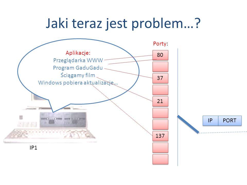 Jaki teraz jest problem…? IP1 Aplikacje: Przeglądarka WWW Program GaduGadu Ściągamy film Windows pobiera aktualizacje… 80 37 21 137 Porty: IP PORT