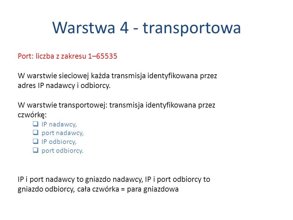 Warstwa 4 - transportowa Port: liczba z zakresu 1–65535 W warstwie sieciowej każda transmisja identyfikowana przez adres IP nadawcy i odbiorcy. W wars