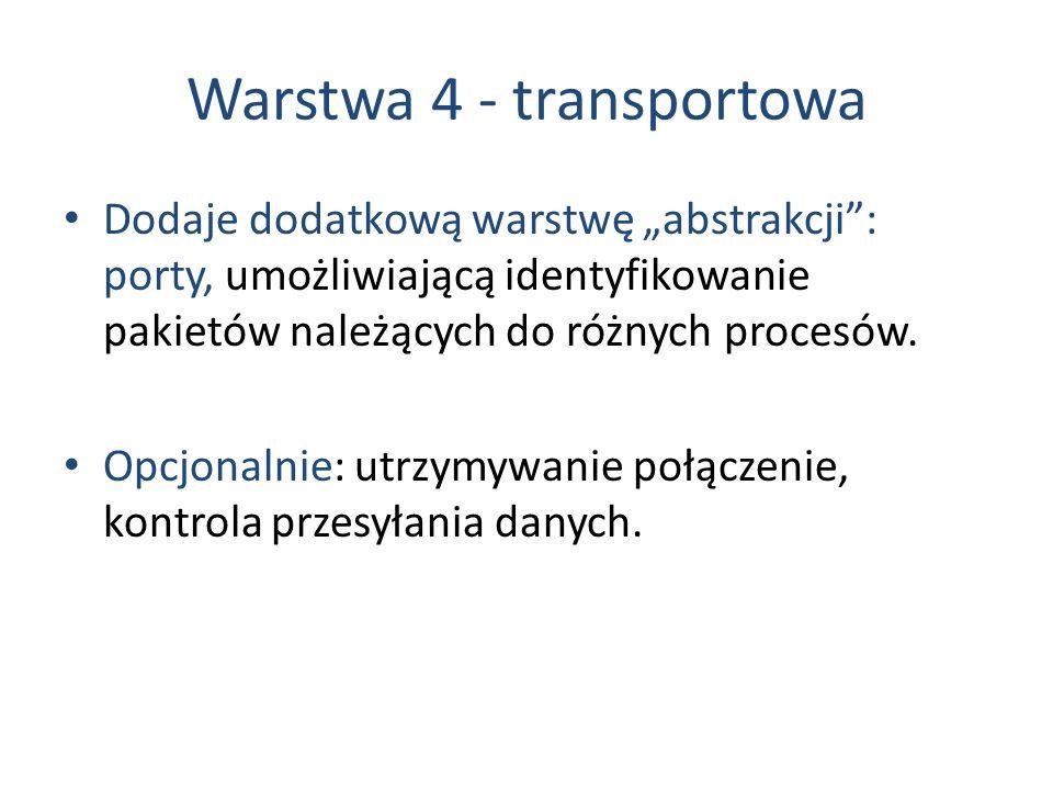 Warstwa 4 - transportowa Dodaje dodatkową warstwę abstrakcji: porty, umożliwiającą identyfikowanie pakietów należących do różnych procesów. Opcjonalni