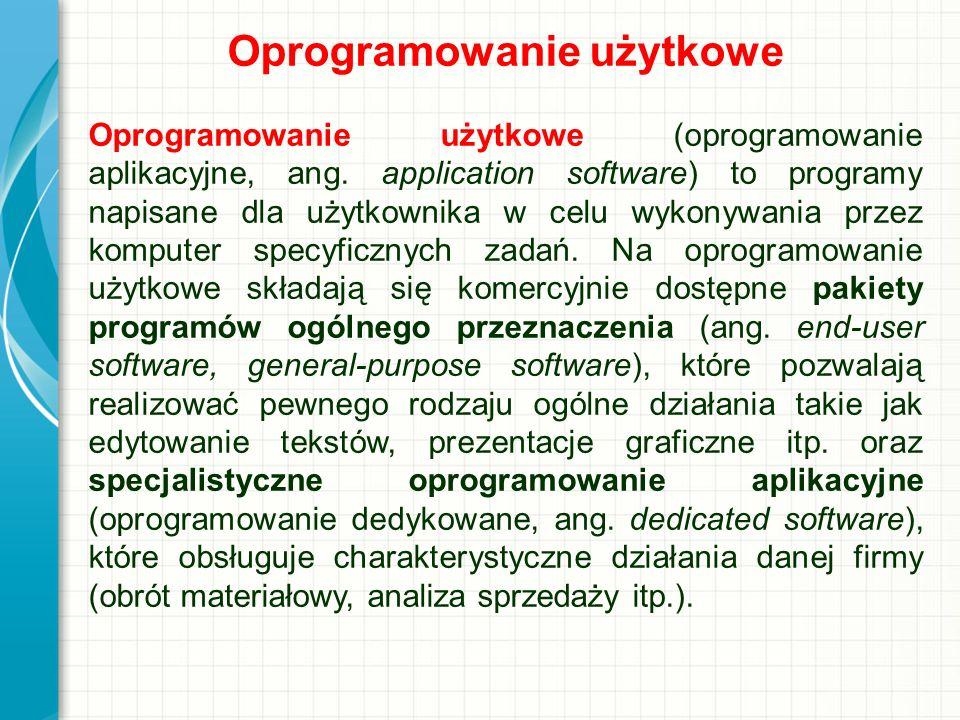 Oprogramowanie użytkowe Oprogramowanie użytkowe (oprogramowanie aplikacyjne, ang. application software) to programy napisane dla użytkownika w celu wy