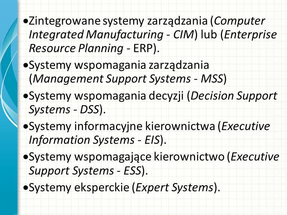 Zintegrowane systemy zarządzania (Computer Integrated Manufacturing - CIM) lub (Enterprise Resource Planning - ERP). Systemy wspomagania zarządzania (