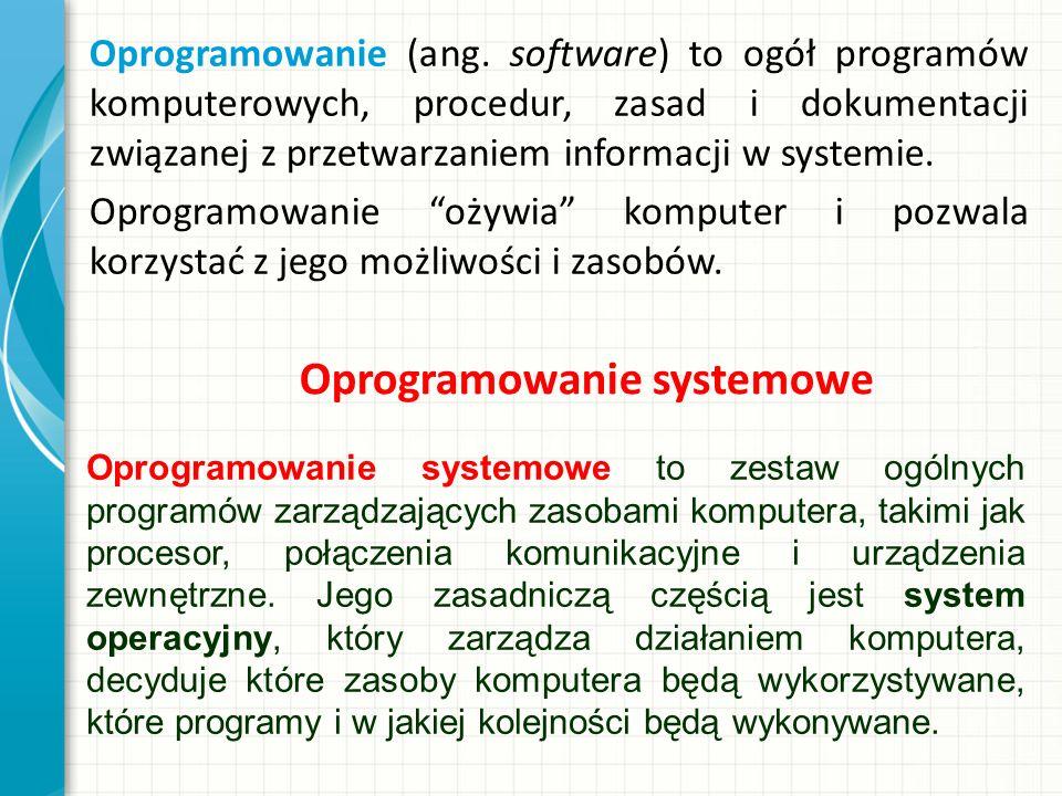 Oprogramowanie (ang. software) to ogół programów komputerowych, procedur, zasad i dokumentacji związanej z przetwarzaniem informacji w systemie. Oprog