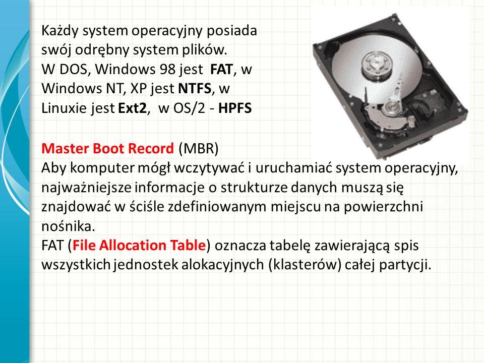 Każdy system operacyjny posiada swój odrębny system plików. W DOS, Windows 98 jest FAT, w Windows NT, XP jest NTFS, w Linuxie jest Ext2, w OS/2 - HPFS