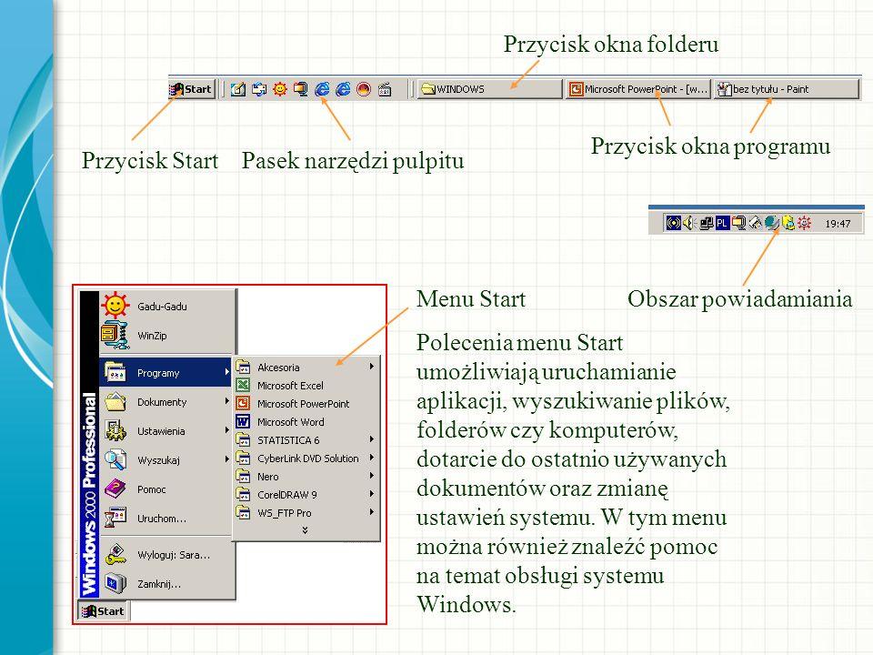 Przycisk StartPasek narzędzi pulpitu Przycisk okna folderu Przycisk okna programu Obszar powiadamianiaMenu Start Polecenia menu Start umożliwiają uruc