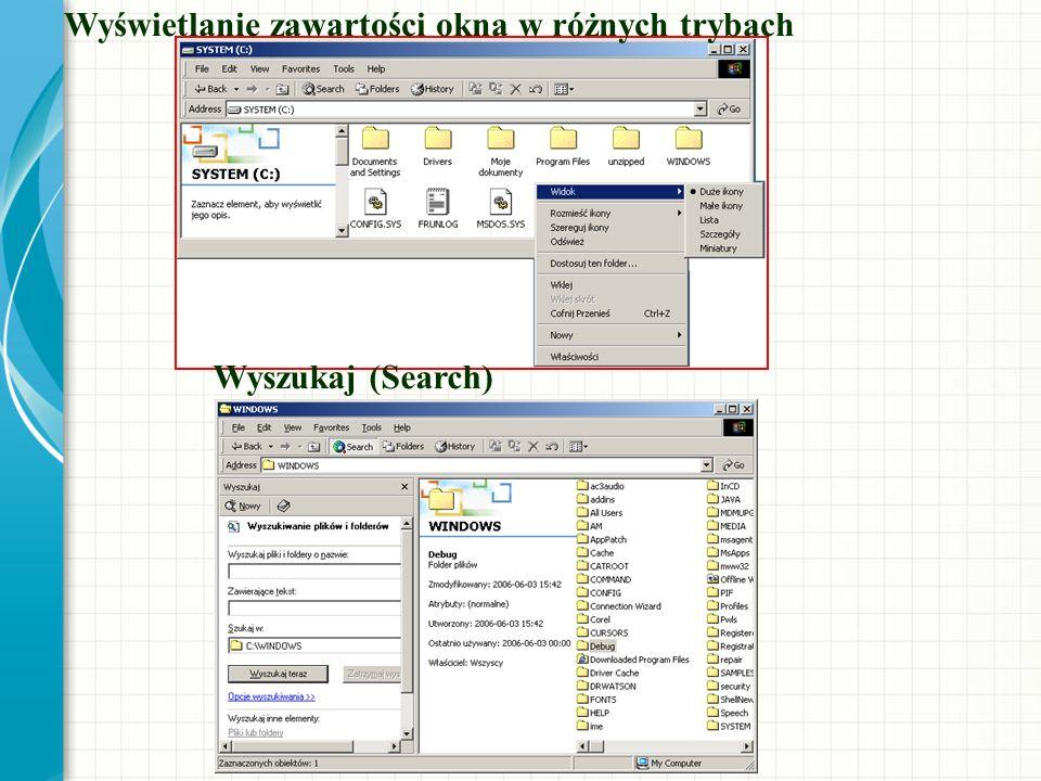 Wyświetlanie zawartości okna w różnych trybach Wyszukaj (Search)