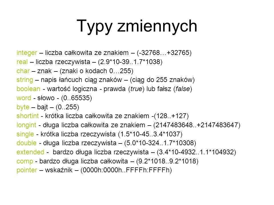 Typy zmiennych integer – liczba całkowita ze znakiem – (-32768…+32765) real – liczba rzeczywista – (2.9*10-39..1.7*1038) char – znak – (znaki o kodach 0…255) string – napis łańcuch ciąg znaków – (ciąg do 255 znaków) boolean - wartość logiczna - prawda (true) lub fałsz (false) word - słowo - (0..65535) byte – bajt – (0..255) shortint - krótka liczba całkowita ze znakiem -(128..+127) longint - długa liczba całkowita ze znakiem – (2147483648..+2147483647) single - krótka liczba rzeczywista (1.5*10-45..3.4*1037) double - długa liczba rzeczywista – (5.0*10-324..1.7*10308) extended - bardzo długa liczba rzeczywista – (3.4*10-4932..1.1*104932) comp - bardzo długa liczba całkowita – (9.2*1018..9.2*1018) pointer – wskaźnik – (0000h:0000h..FFFFh:FFFFh)