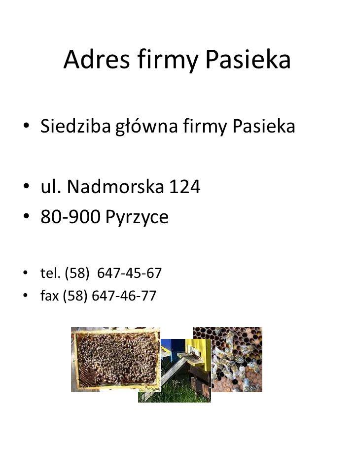 Adres firmy Pasieka Siedziba główna firmy Pasieka ul. Nadmorska 124 80-900 Pyrzyce tel. (58) 647-45-67 fax (58) 647-46-77