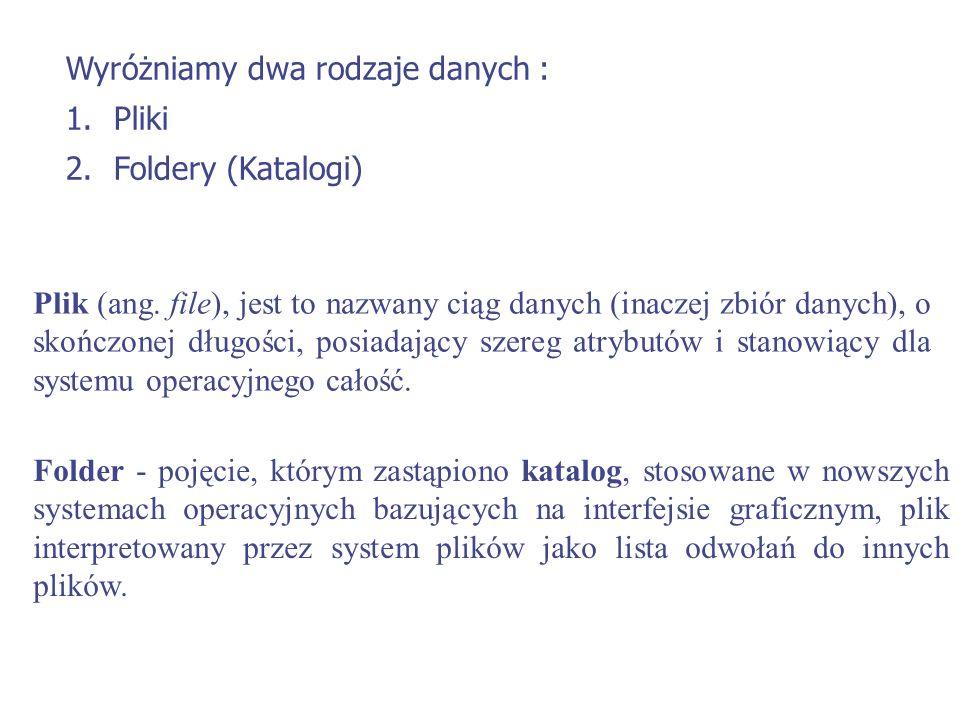 Wyróżniamy dwa rodzaje danych : 1.Pliki 2.Foldery (Katalogi) Folder - pojęcie, którym zastąpiono katalog, stosowane w nowszych systemach operacyjnych