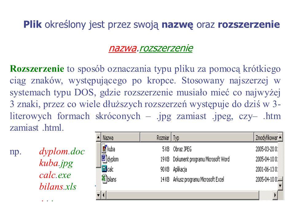 Plik określony jest przez swoją nazwę oraz rozszerzenie nazwa.rozszerzenie Rozszerzenie to sposób oznaczania typu pliku za pomocą krótkiego ciąg znakó