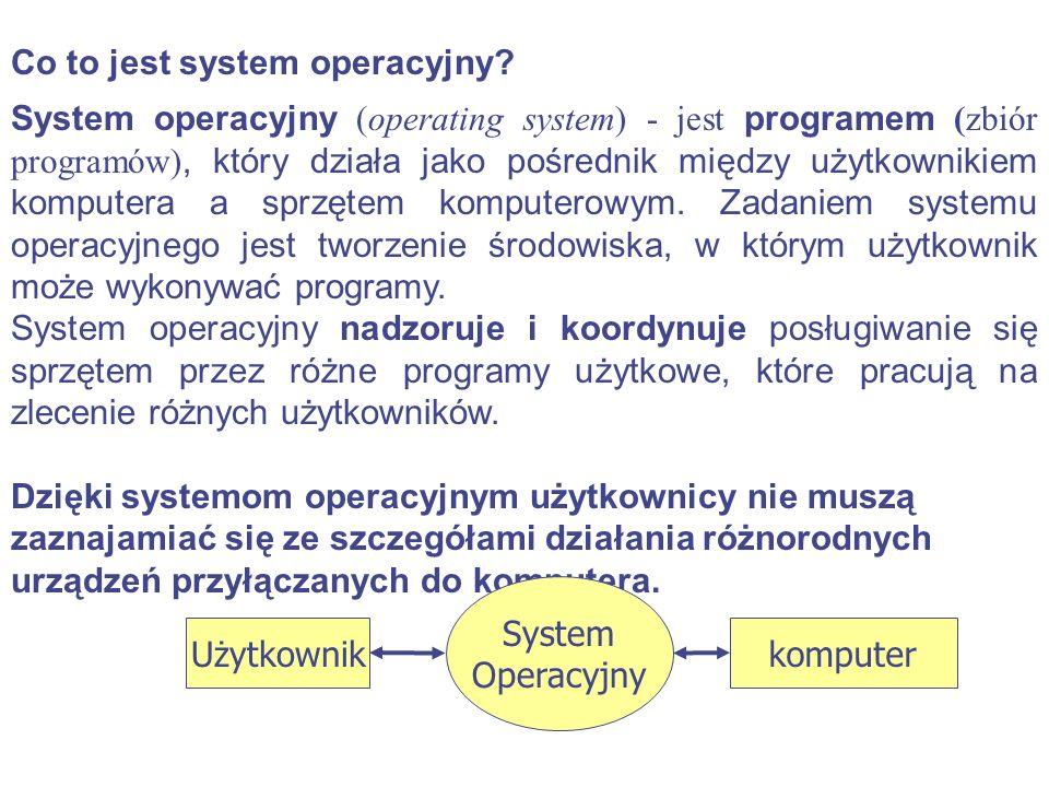 Co to jest system operacyjny? System operacyjny (operating system) - jest programem (zbiór programów), który działa jako pośrednik między użytkownikie