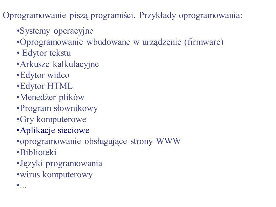 Oprogramowanie piszą programiści. Przykłady oprogramowania: Systemy operacyjne Oprogramowanie wbudowane w urządzenie (firmware) Edytor tekstu Arkusze