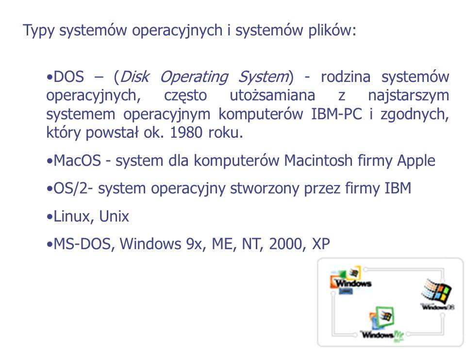 Typy systemów operacyjnych i systemów plików: DOS – (Disk Operating System) - rodzina systemów operacyjnych, często utożsamiana z najstarszym systemem