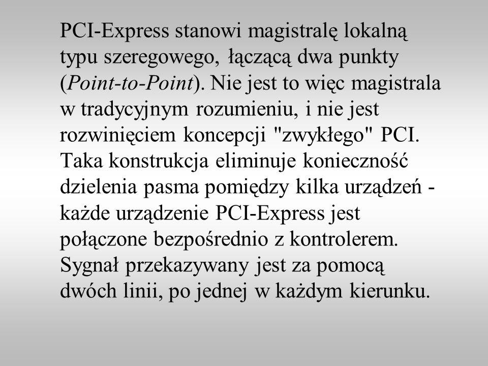 PCI-Express stanowi magistralę lokalną typu szeregowego, łączącą dwa punkty (Point-to-Point). Nie jest to więc magistrala w tradycyjnym rozumieniu, i