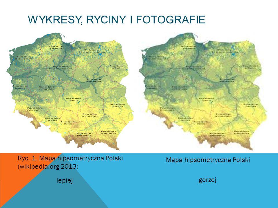 WYKRESY, RYCINY I FOTOGRAFIE Ryc. 1. Mapa hipsometryczna Polski (wikipedia.org 2013) Mapa hipsometryczna Polski lepiej gorzej