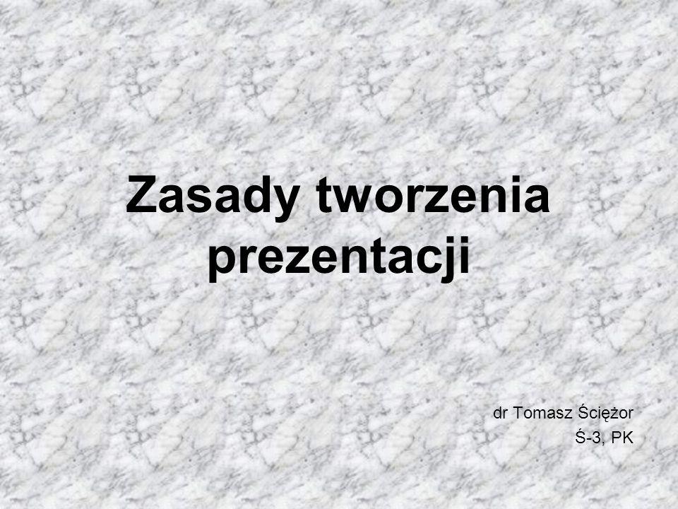 Zasady tworzenia prezentacji dr Tomasz Ściężor Ś-3, PK