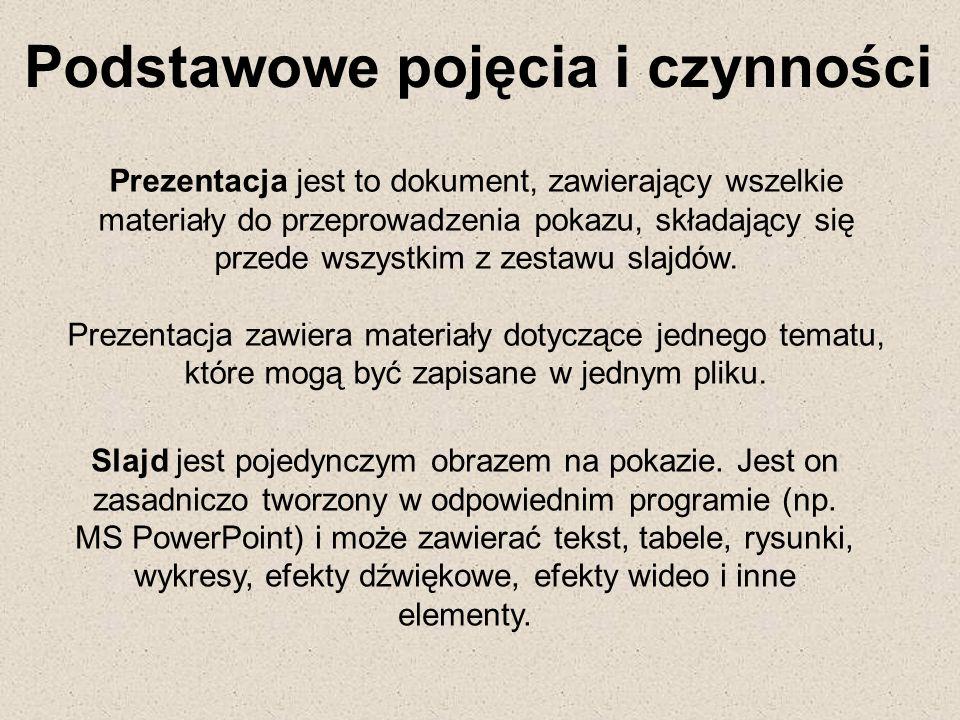 Prezentacja jest to dokument, zawierający wszelkie materiały do przeprowadzenia pokazu, składający się przede wszystkim z zestawu slajdów. Prezentacja