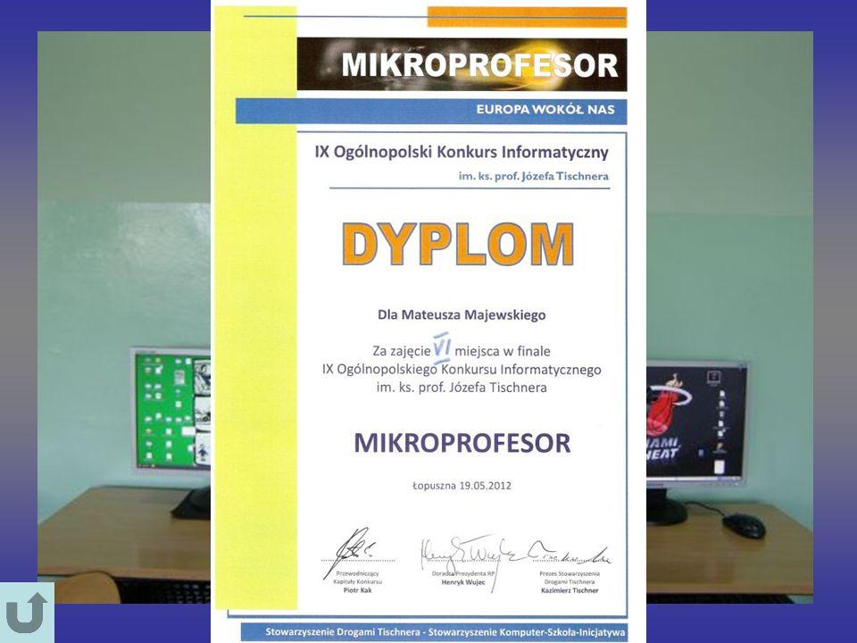VI miejsce w Ogólnopolskim Konkursie Informatycznym 19 maja 2012 roku w Łopusznej koło Nowego Targu odbył się finał IX Ogólnopolskiego Konkursu Inform