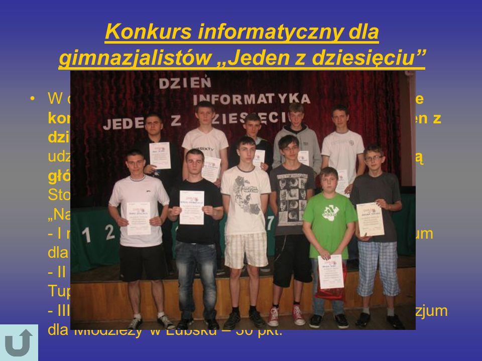 Konkurs informatyczny dla gimnazjalistów Jeden z dziesięciu W dniu 25 maja 2012 roku odbył się w naszej szkole konkurs informatyczny dla gimnazjalistó