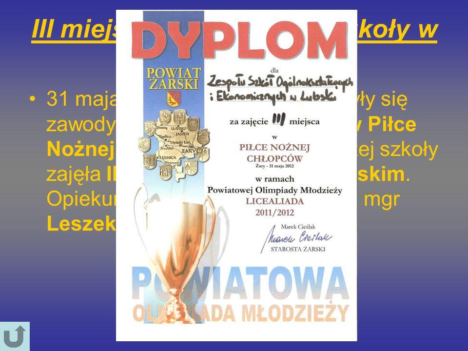 III miejsce reprezentacji szkoły w piłce nożnej 31 maja 2012 roku w Żarach odbyły się zawody z cyklu,,LICEALIADA w Piłce Nożnej Chłopców. Drużyna nasz