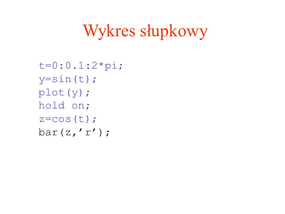 Wykres słupkowy t=0:0.1:2*pi; y=sin(t); plot(y); hold on; z=cos(t); bar(z,r);