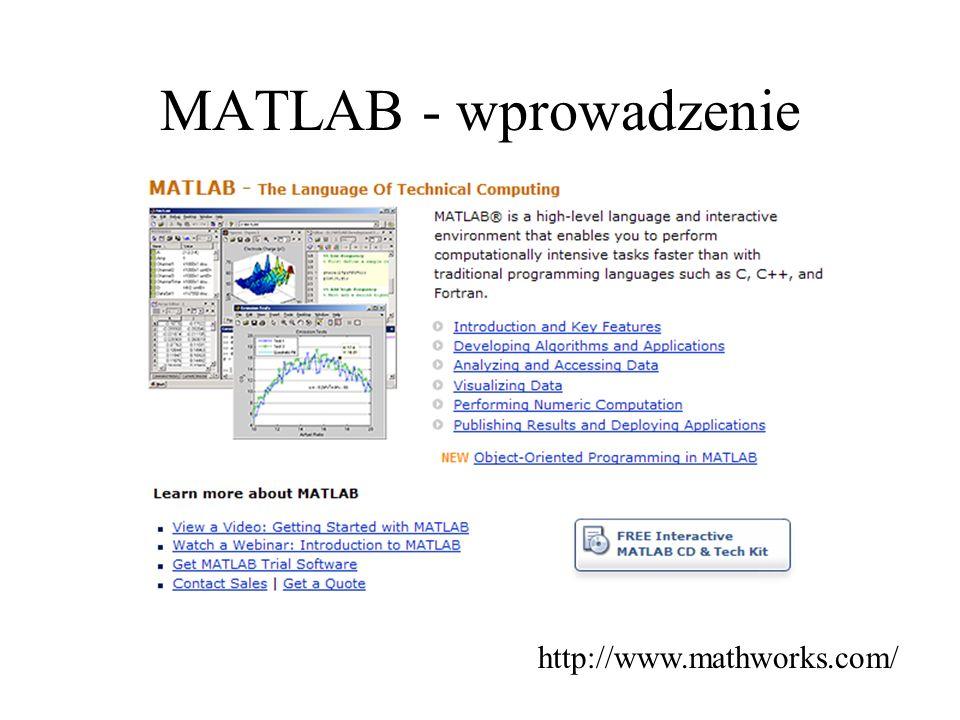 Programowanie w MATLABIE skrypty i funkcje Skrypty nie pobierają zmiennych zewnętrznych.