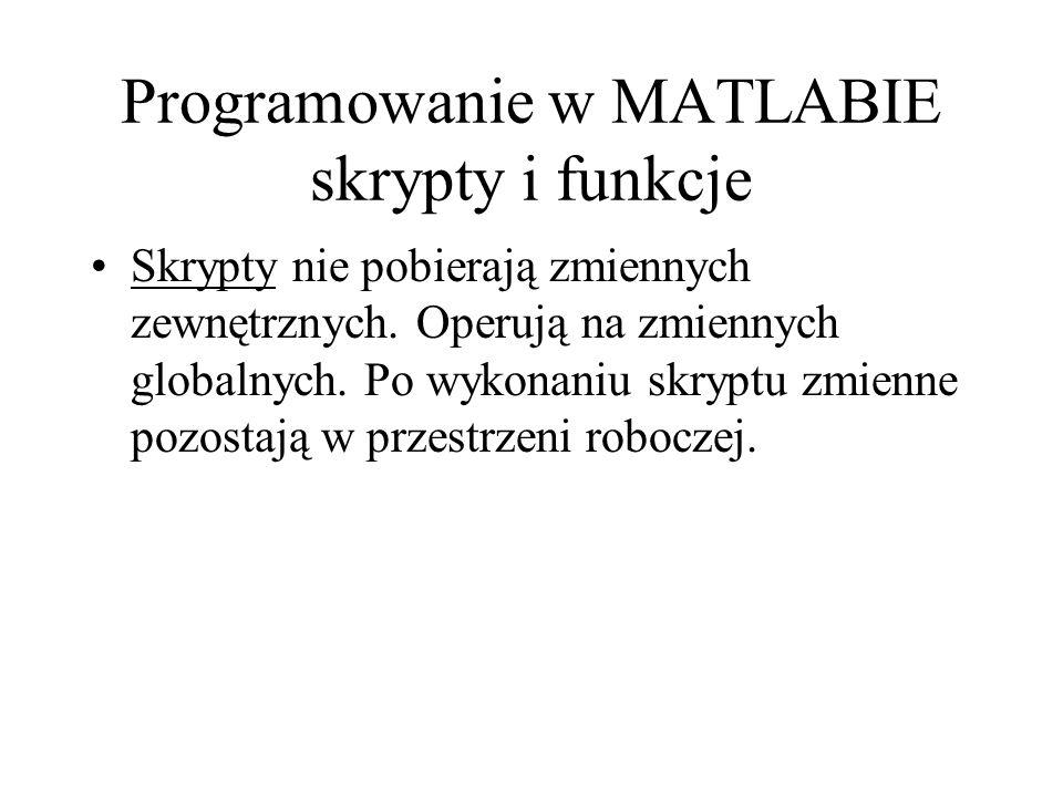 Programowanie w MATLABIE skrypty i funkcje Skrypty nie pobierają zmiennych zewnętrznych. Operują na zmiennych globalnych. Po wykonaniu skryptu zmienne