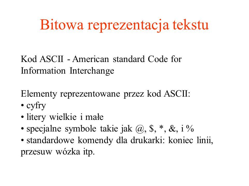 Bitowa reprezentacja tekstu Kod ASCII - American standard Code for Information Interchange Elementy reprezentowane przez kod ASCII: cyfry litery wielk