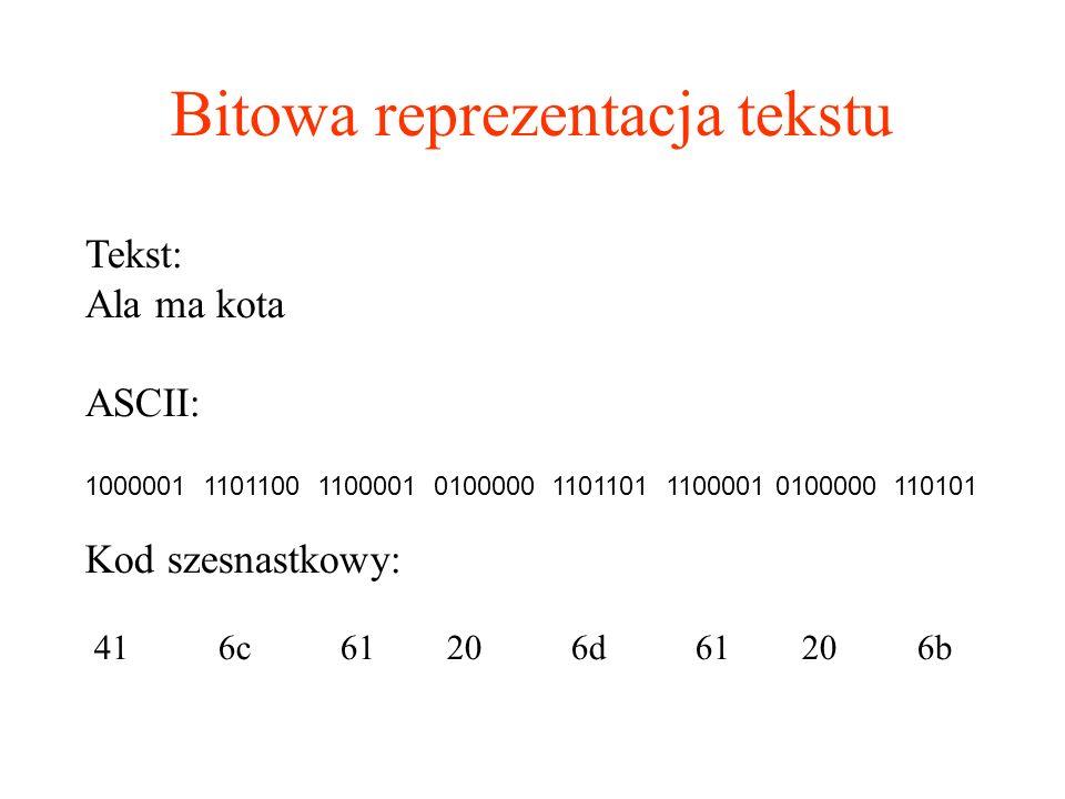 Bitowa reprezentacja tekstu Tekst: Ala ma kota ASCII: 1000001 1101100 1100001 0100000 1101101 1100001 0100000 110101 Kod szesnastkowy: 41 6c 61 20 6d