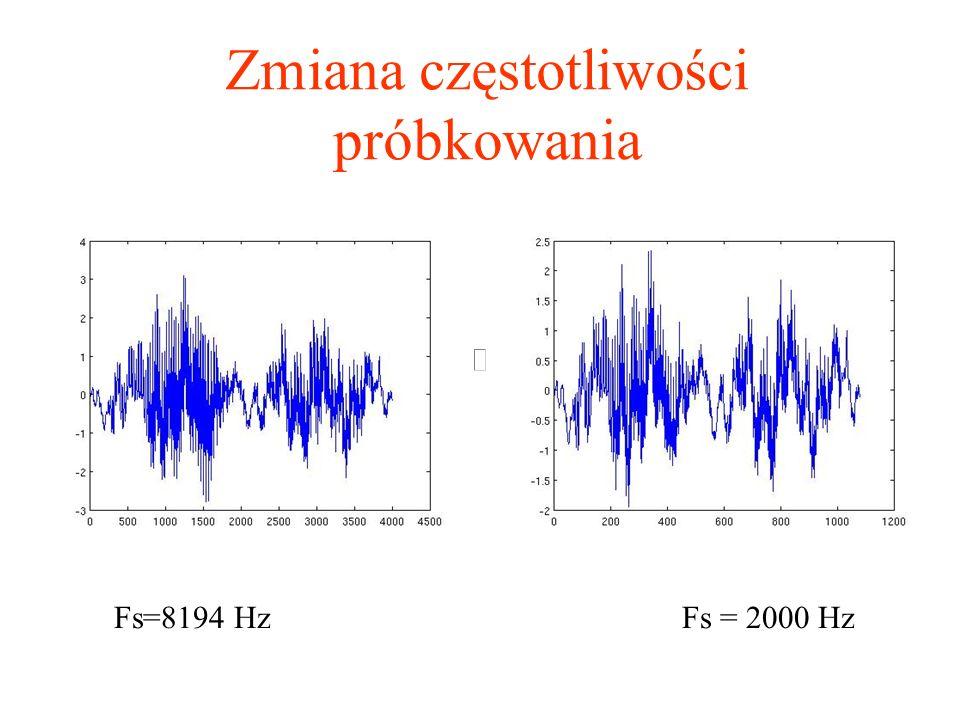 Zmiana częstotliwości próbkowania Fs=8194 HzFs = 2000 Hz