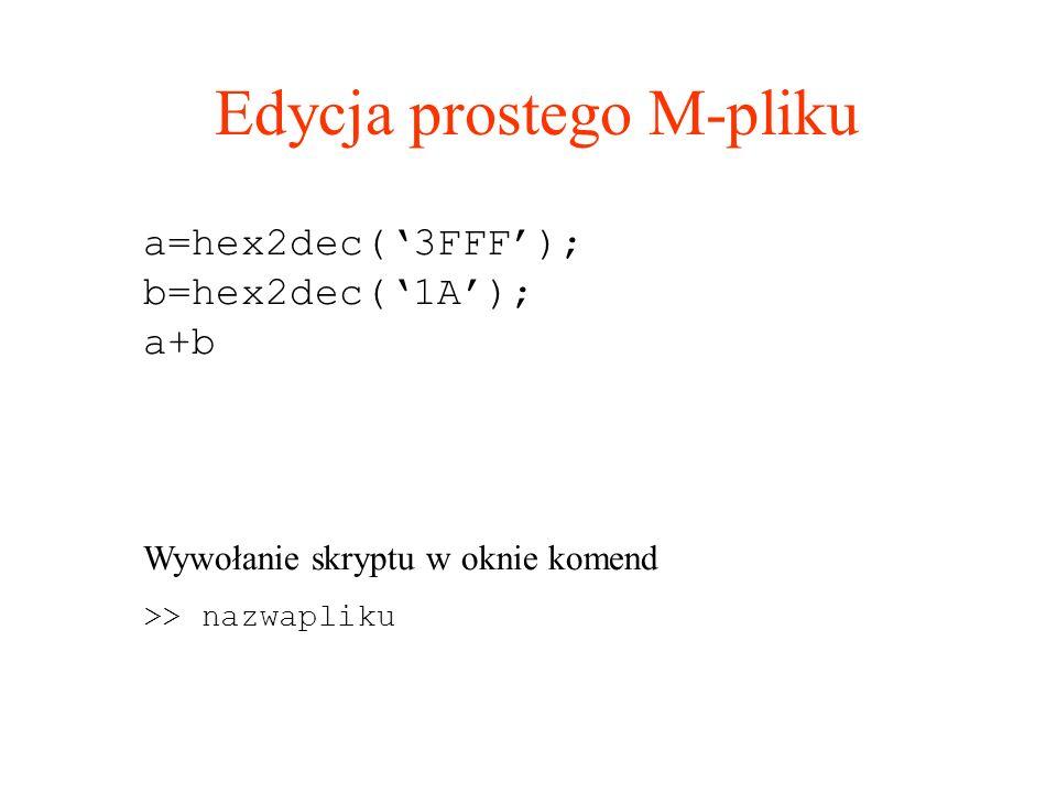 Edycja prostego M-pliku a=hex2dec(3FFF); b=hex2dec(1A); a+b Wywołanie skryptu w oknie komend >> nazwapliku