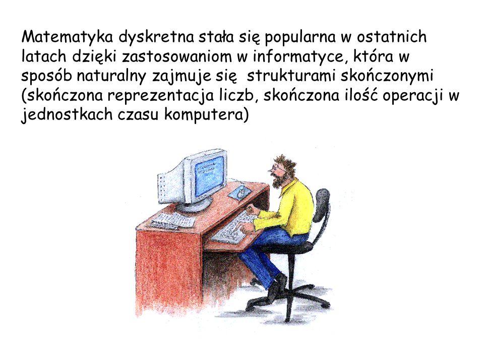 Matematyka dyskretna stała się popularna w ostatnich latach dzięki zastosowaniom w informatyce, która w sposób naturalny zajmuje się strukturami skońc