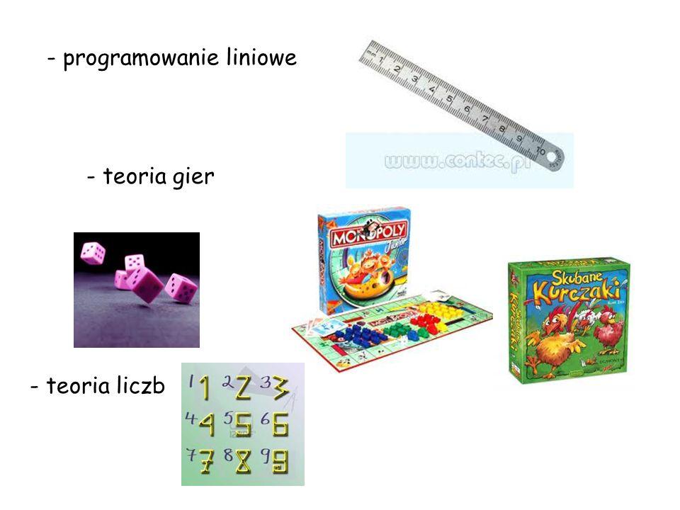 - programowanie liniowe - teoria gier - teoria liczb