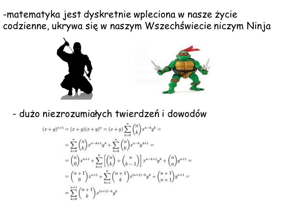 -matematyka jest dyskretnie wpleciona w nasze życie codzienne, ukrywa się w naszym Wszechświecie niczym Ninja - dużo niezrozumiałych twierdzeń i dowod