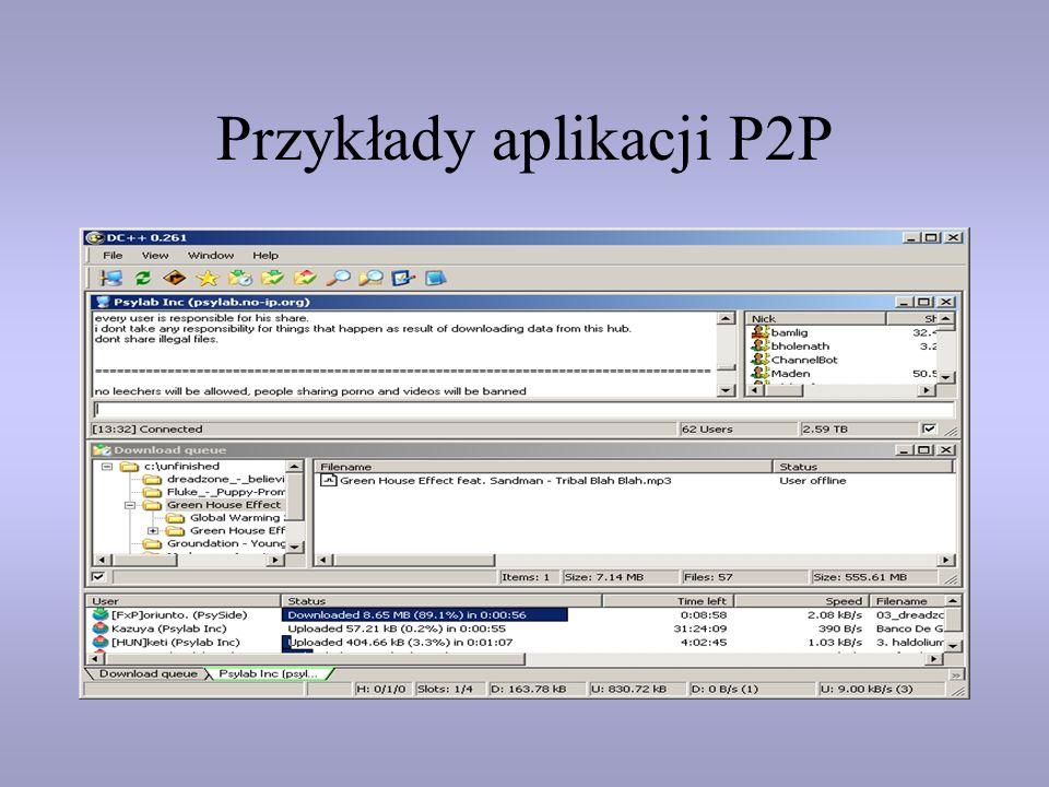 Przykłady aplikacji P2P