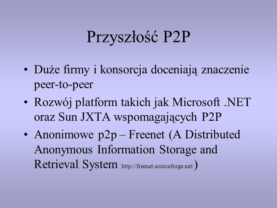 Przyszłość P2P Duże firmy i konsorcja doceniają znaczenie peer-to-peer Rozwój platform takich jak Microsoft.NET oraz Sun JXTA wspomagających P2P Anoni