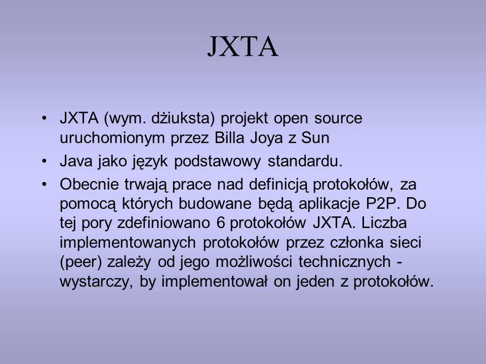 JXTA JXTA (wym. dżiuksta) projekt open source uruchomionym przez Billa Joya z Sun Java jako język podstawowy standardu. Obecnie trwają prace nad defin