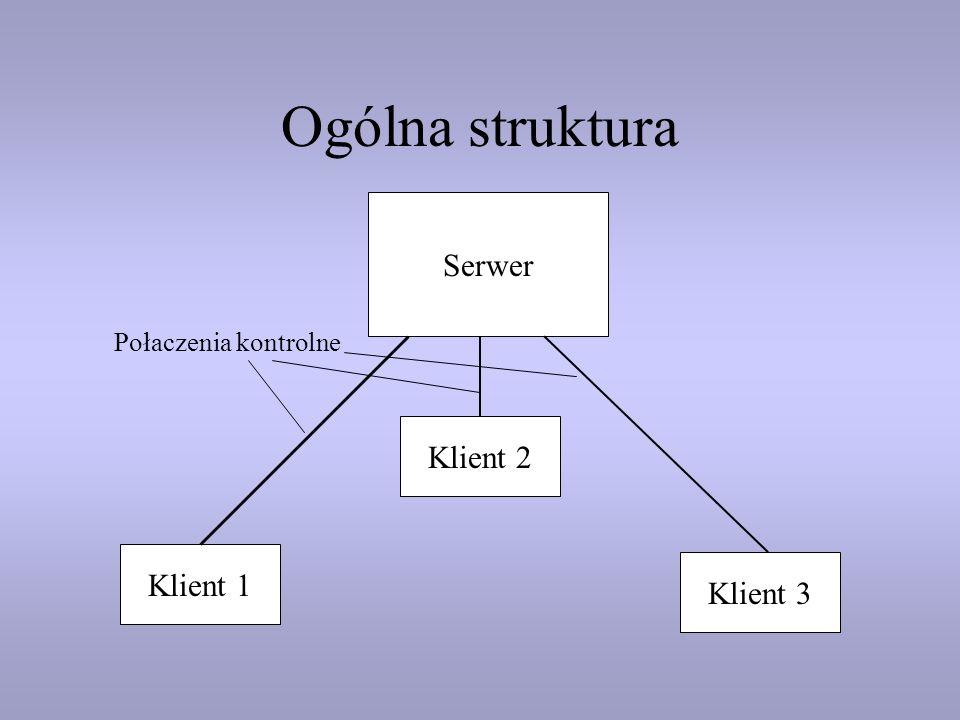 Ogólna struktura Serwer Klient 1 Klient 2 Połaczenia kontrolne Klient 3