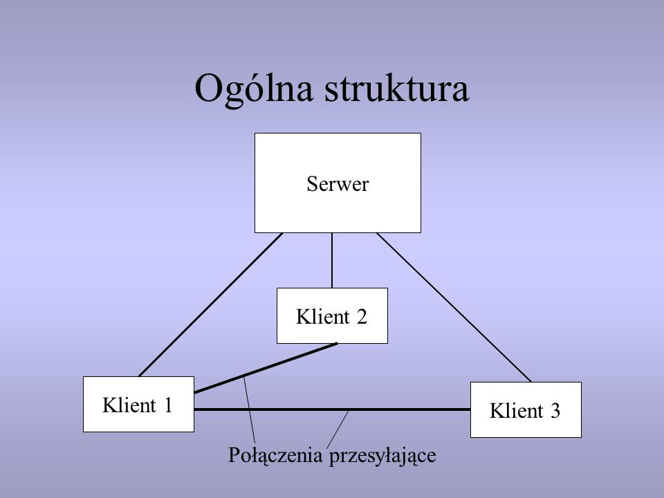 Ogólna struktura Serwer Klient 1 Klient 2 Połączenia przesyłające Klient 3