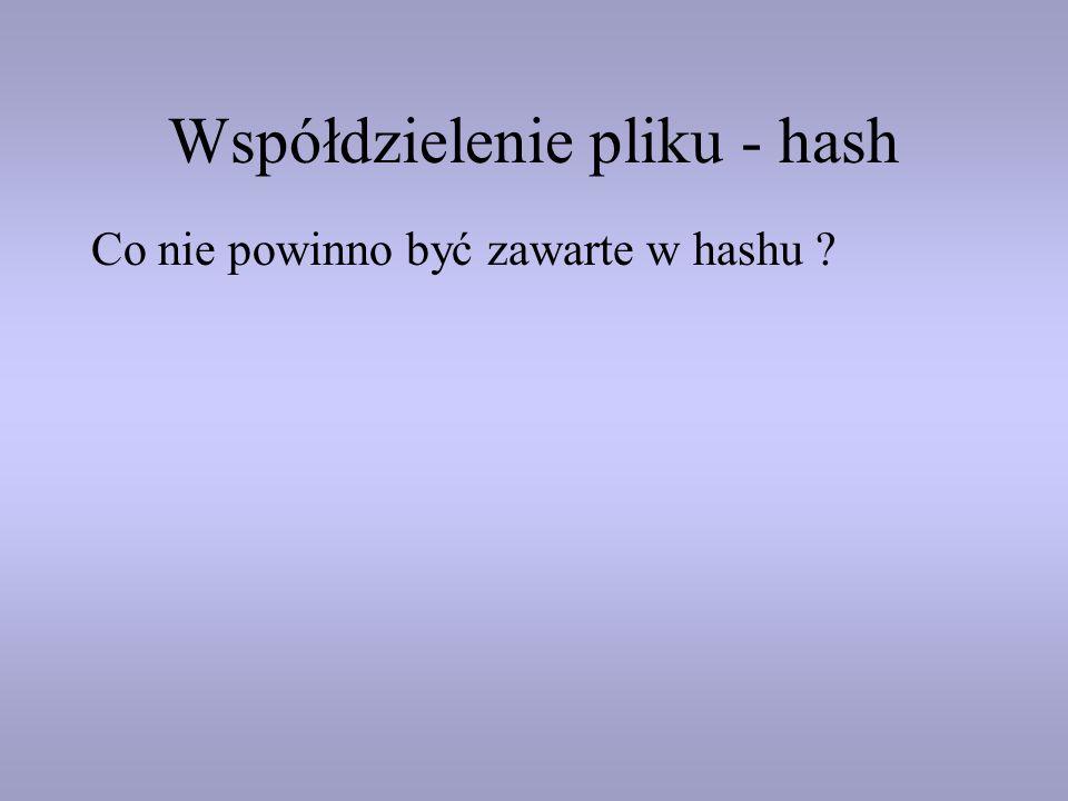 Współdzielenie pliku - hash Co nie powinno być zawarte w hashu ?