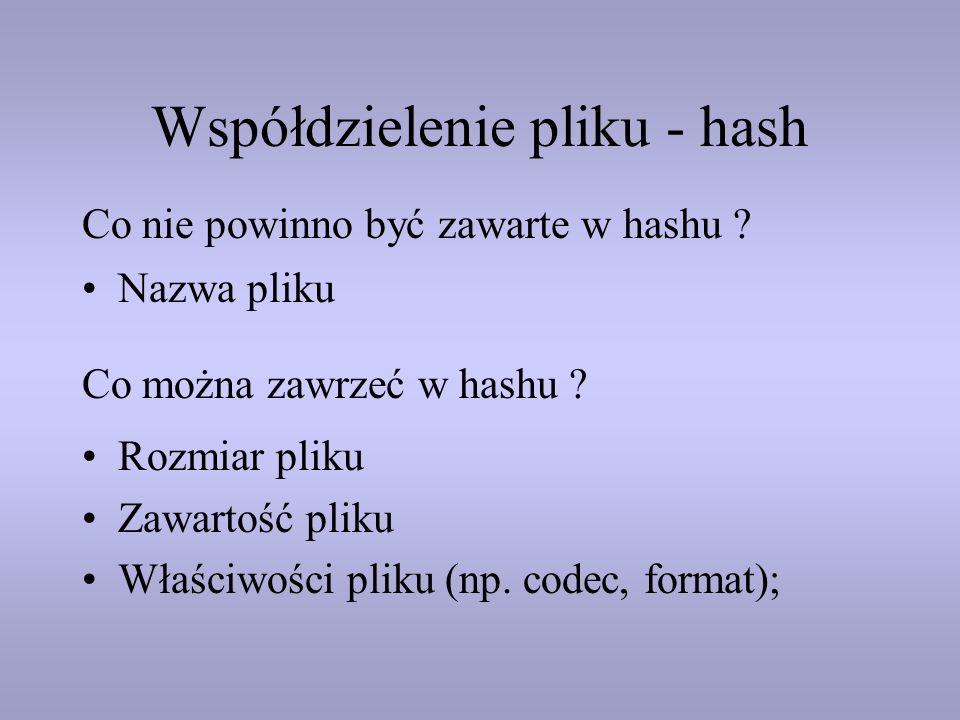 Współdzielenie pliku - hash Nazwa pliku Rozmiar pliku Zawartość pliku Właściwości pliku (np. codec, format); Co nie powinno być zawarte w hashu ? Co m