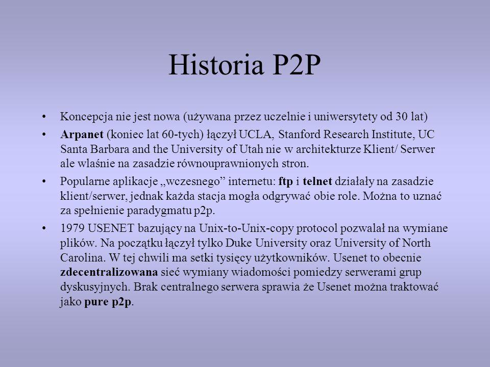Historia P2P Koncepcja nie jest nowa (używana przez uczelnie i uniwersytety od 30 lat) Arpanet (koniec lat 60-tych) łączył UCLA, Stanford Research Ins