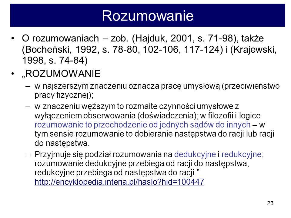 23 Rozumowanie O rozumowaniach – zob.(Hajduk, 2001, s.