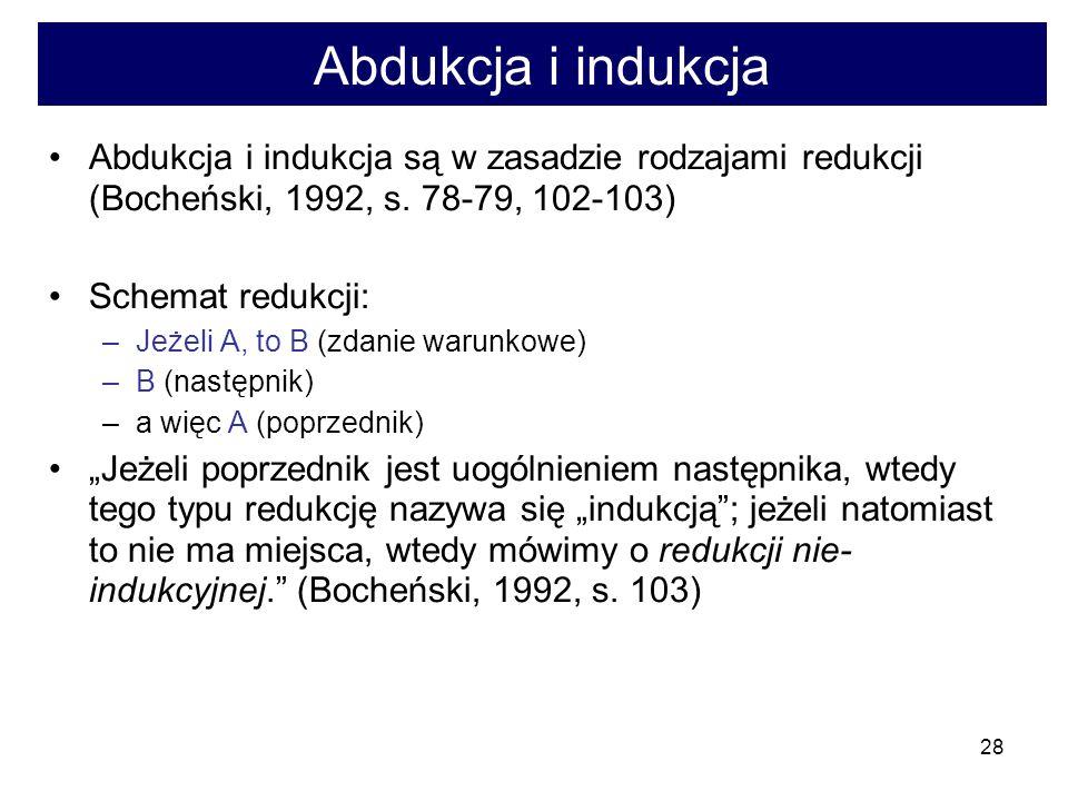 28 Abdukcja i indukcja Abdukcja i indukcja są w zasadzie rodzajami redukcji (Bocheński, 1992, s.