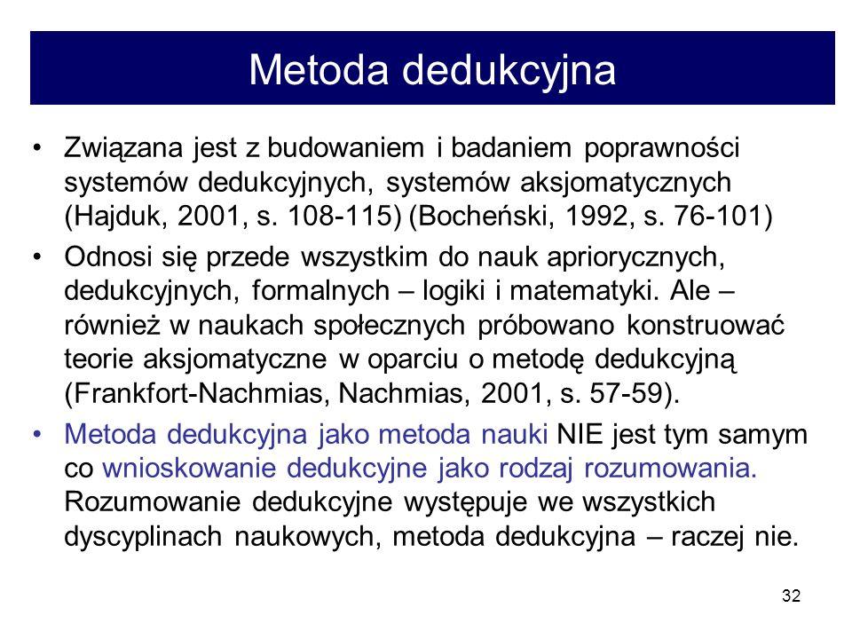 32 Metoda dedukcyjna Związana jest z budowaniem i badaniem poprawności systemów dedukcyjnych, systemów aksjomatycznych (Hajduk, 2001, s.