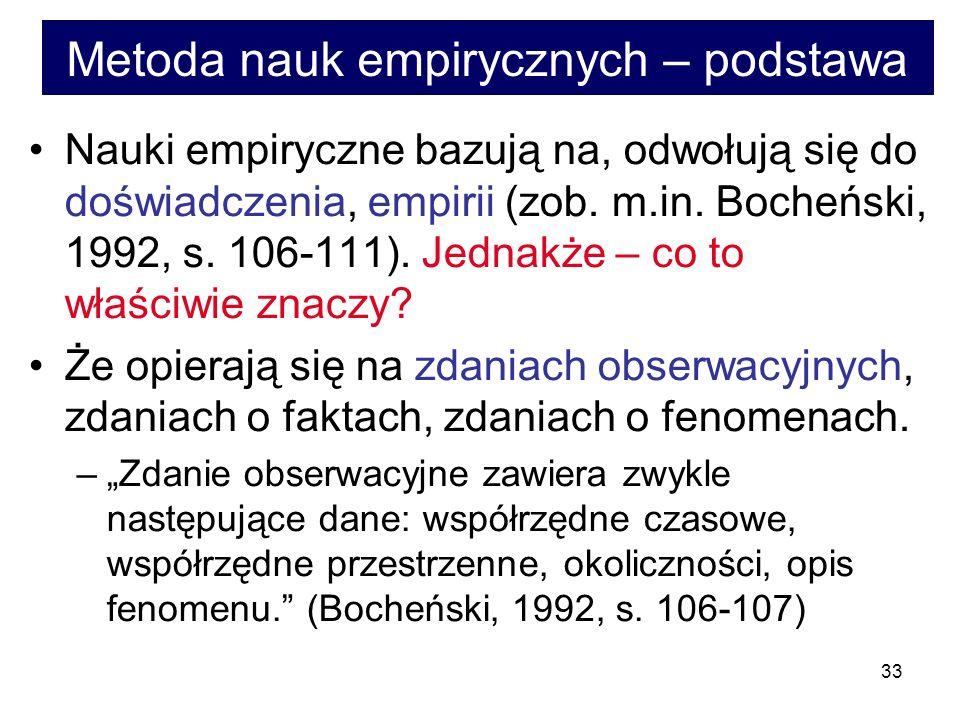 33 Metoda nauk empirycznych – podstawa Nauki empiryczne bazują na, odwołują się do doświadczenia, empirii (zob.