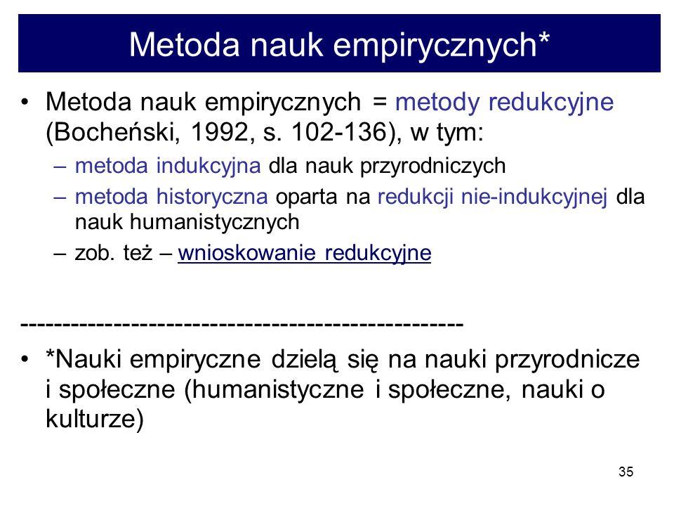 35 Metoda nauk empirycznych* Metoda nauk empirycznych = metody redukcyjne (Bocheński, 1992, s.
