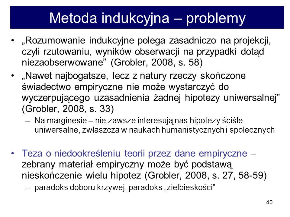 40 Metoda indukcyjna – problemy Rozumowanie indukcyjne polega zasadniczo na projekcji, czyli rzutowaniu, wyników obserwacji na przypadki dotąd niezaobserwowane (Grobler, 2008, s.